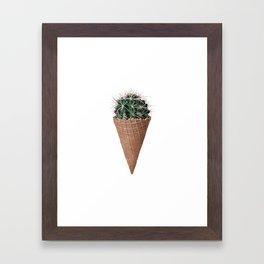 Icecream Cactus, Funny Cactus Print Framed Art Print