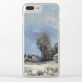 """Camille Pissarro """"Le relais de poste, route de Versailles, Louveciennes, neige"""" Clear iPhone Case"""