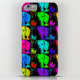 Colorful Pop Art Dachshund Doxie Face Closeup Tiled Image iPhone Case