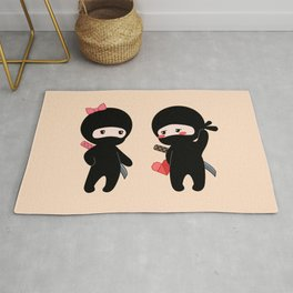 Tiny Ninja Boy and Girl Rug