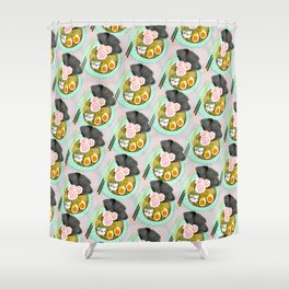 Ramen Cats Pattern Shower Curtain