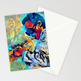 Jazz State of Mind - Colorful Impressionism Miles D. Davis Louis Armstrong Trumpeters Stationery Cards