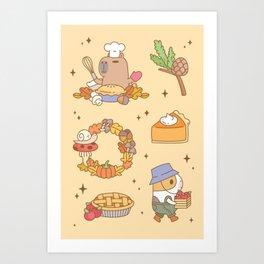 Bubu the Guinea pig, Fall and Pie Art Print