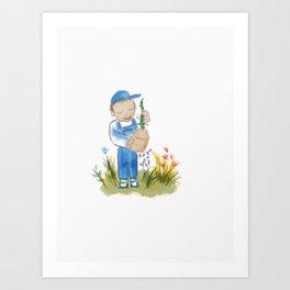 41- Boy with a lizard Art Print