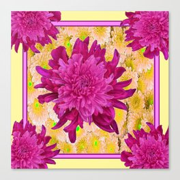 Styalized Art Purple & Yellow Chrysanthemums Floral Garden Canvas Print