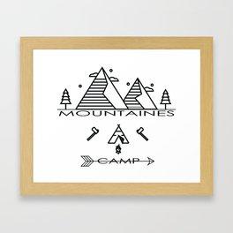 Camping Mountains Design T-shirt Framed Art Print