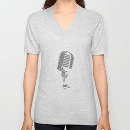 Microphone Silhouette Grey Unisex V-Neck