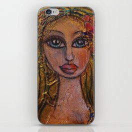 Golden Dawn Big Eyed Girl Female Portrait Painting by Garden Of Delights iPhone Skin