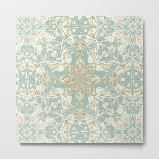 Soft Sage & Cream hand drawn floral pattern Metal Print