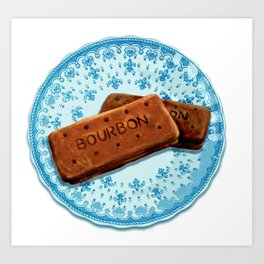 Bourbon biscuits on a plate for tea time Art Print