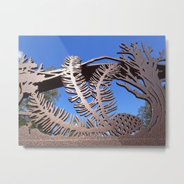 Pine branch blue skies Metal Print