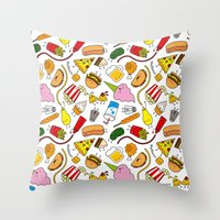 junk food Throw Pillows featuring Junk food doodle by Waffleme & Co.