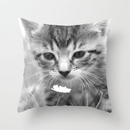 Cat Picture in Black and White Throw Pillow