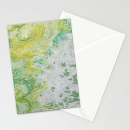 Lime Green Aqua Yellow Textured Abstract Stationery Cards