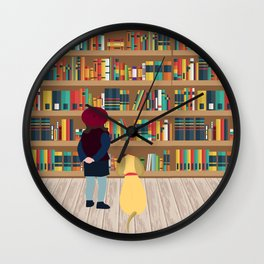 Take a book to kennel Wall Clock