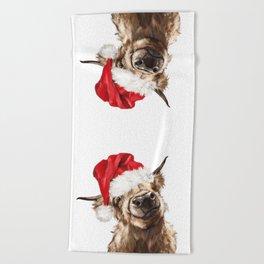 Christmas Highland Cow Beach Towel