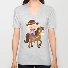 Cowboy Girl, Cowgirl On Brown Horse, Blonde Hair Unisex V-Neck