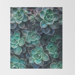 Succulent Blue Green Plants Throw Blanket