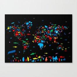 world map animals black Canvas Print