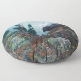 Weather chirping on cyclone rock landscape painting by Emilie Mediz-Pelikan Floor Pillow