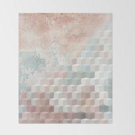 Distressed Cube Pattern - Nude, turquoise and seashell Throw Blanket