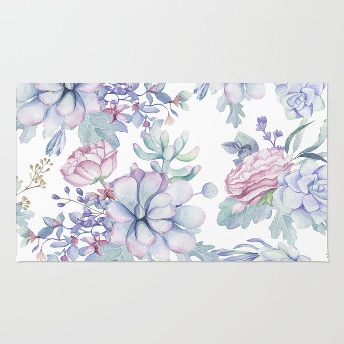 Pretty Blue Pink Succulents Garden Rug