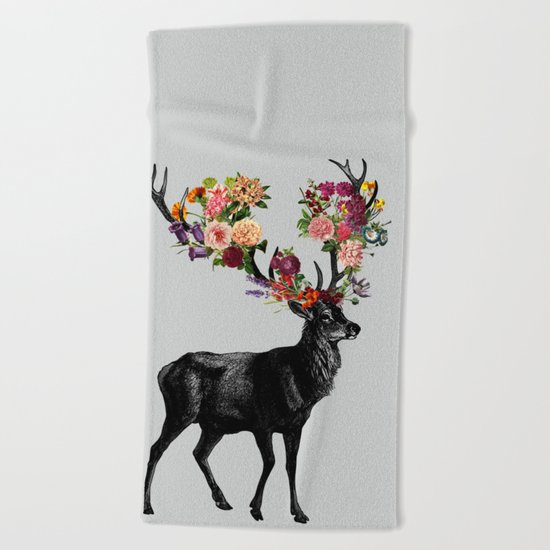 Spring Itself Deer Floral Beach Towel