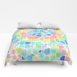 Rainbow Cubes & Diamonds Comforters
