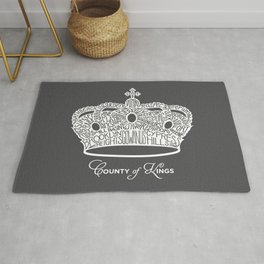 County of Kings | Brooklyn NYC Crown (WHITE) Rug