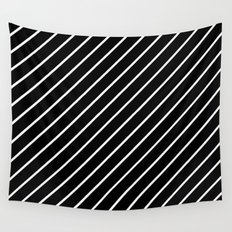 Hot 80s Style Diagonal Black and White Geometric Pattern Wall Tapestry