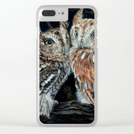 young love on a starry night - screech owls Clear iPhone Case