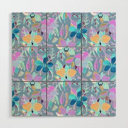 Pastel Tropical Floral Wood Wall Art