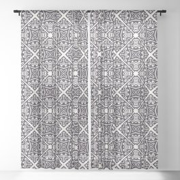 Hand drawn mosaic tile shape. Repeating floral azulejo background. Sheer Curtain
