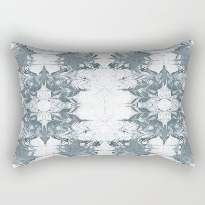 Haru - spilled ink modern abstract marble painting indigo ink splash swirl ocean waves water sea Rectangular Pillow