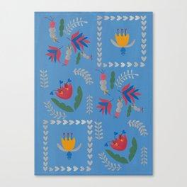 Heart of Silver – Blue Bell – Scandinavian Folk Art Canvas Print