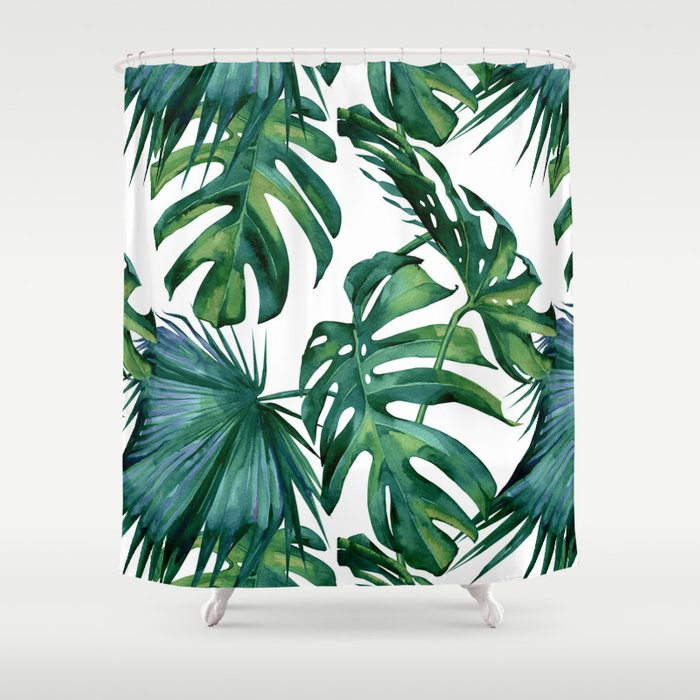 Classic Palm Leaves Tropical Jungle Green Shower Curtain by ...