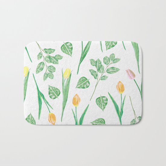 Tulips Floral Pattern Bath Mat