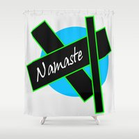 namaste Shower Curtains featuring Namaste by PizazzZ People Designs