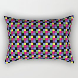 Disco Lights Blocks, Checkered Pattern - Pastel Colors Rectangular Pillow