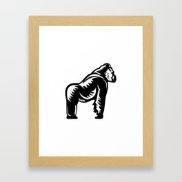 Silverback Gorilla Side View Woodcut Framed Art Print