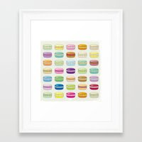 macaroon Framed Art Prints featuring Colorful macaroon set by MiartDesignCreation