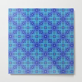 Azure Attitudes Pattern Metal Print