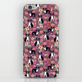Boston Terrier floral black and white coat essential gifts for boston terriers owners florals iPhone Skin