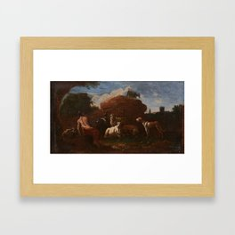 Follower of Philipp Peter Roos (1657-1706) Goatherd resting with cattle, goats, and sheep, in an Ita Framed Art Print