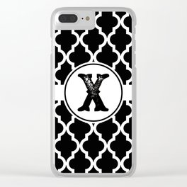 Black Monogram: Letter X Clear iPhone Case
