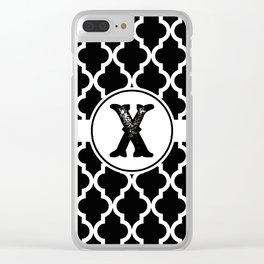 Black Monogram: Letter X Clear iPhone Case