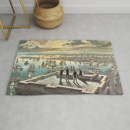 Vintage Currier & Ives New York Harbor Color Lithograph Wall Art Rug