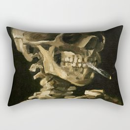 Skull Of A Skeleton With Burning Cigarette Rectangular Pillow
