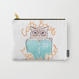 Cats, Books, Life is Good - Blue Tabby Reading a Book Watercolor Illustration Carry-All Pouch