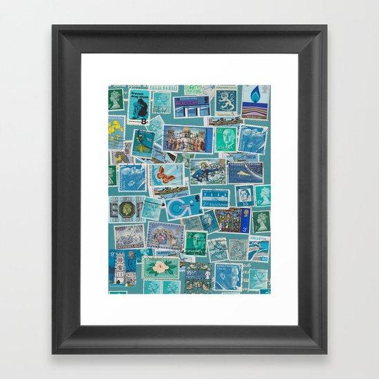Postage Bleu Framed Art Print